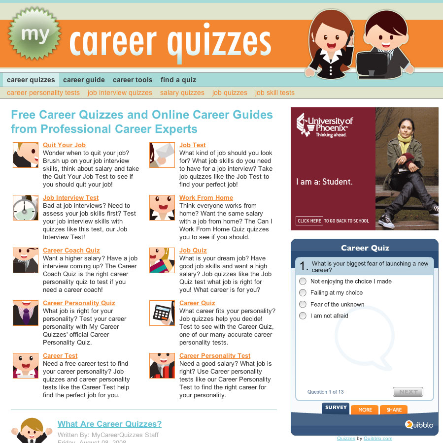duncan arsenault web design my career quizzes website