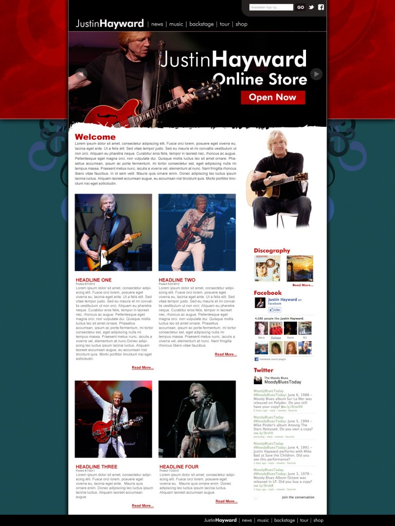 Justin Hayward - Website design by Duncan Arsenault